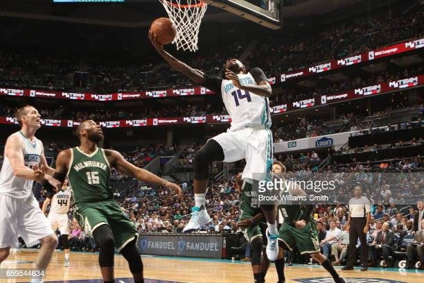 Michael KiddGilchrist of the Charlotte Hornets goes up for a lay up during a game against the Milwaukee Bucks on March 28 2017 at the Spectrum Center...