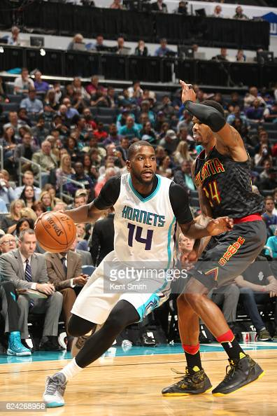 Michael KiddGilchrist of the Charlotte Hornets handles the ball during a game against the Atlanta Hawks on November 18 2016 at the Spectrum Center in...