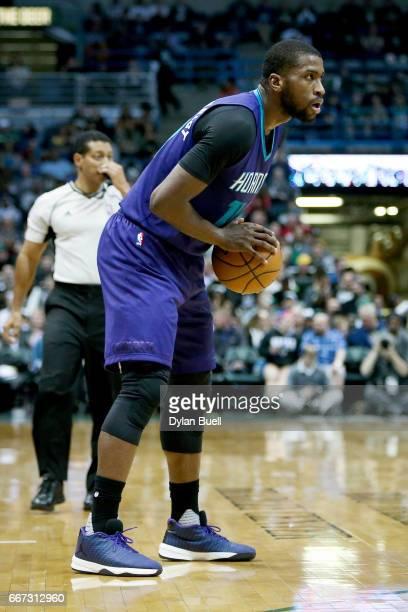 Michael KiddGilchrist of the Charlotte Hornets handles the ball in the third quarter against the Milwaukee Bucks at BMO Harris Bradley Center on...