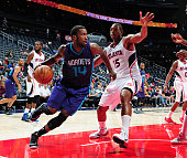Michael KiddGilchrist of the Charlotte Hornets handles the ball against the Atlanta Hawks on October 20 2014 at Philips Arena in Atlanta Georgia NOTE...
