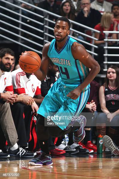 Michael KiddGilchrist of the Charlotte Hornets handles the ball against the Chicago Bulls on March 23 2015 at the United Center in Chicago Illinois...