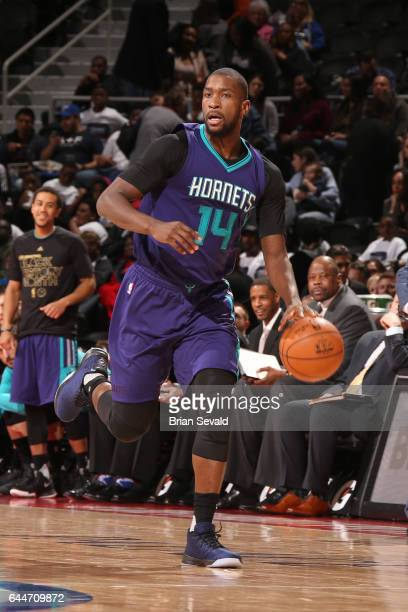 Michael KiddGilchrist of the Charlotte Hornets handles the ball against the Detroit Pistons on February 23 2017 at The Palace of Auburn Hills in...