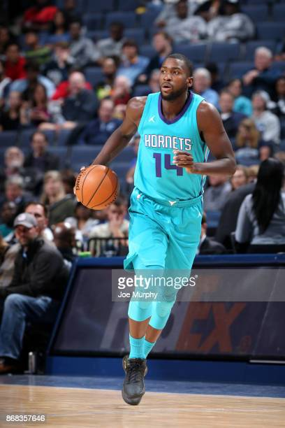 Michael KiddGilchrist of the Charlotte Hornets handles the ball against the Memphis Grizzlies on October 30 2017 at FedExForum in Memphis Tennessee...