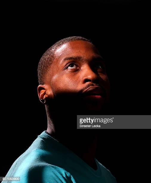 Michael KiddGilchrist of the Charlotte Hornets is introduced before their game against the Dallas Mavericks at Spectrum Center on December 1 2016 in...