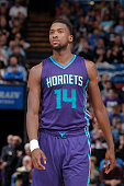 Michael KiddGilchrist of the Charlotte Hornets looks on during the game against the Sacramento Kings on March 20 2015 at Sleep Train Arena in...