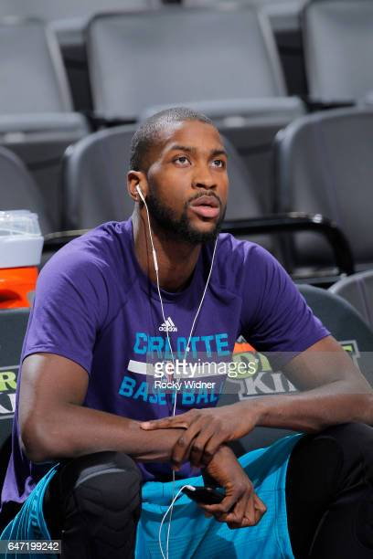 Michael KiddGilchrist of the Charlotte Hornets looks on during the game against the Sacramento Kings on February 25 2017 at Golden 1 Center in...