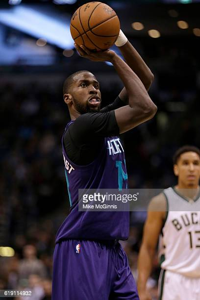 Michael KiddGilchrist of the Charlotte Hornets shoots a free throw during the game against the Milwaukee Bucks at BMO Harris Bradley Center on...