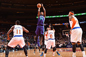 Michael KiddGilchrist of the Charlotte Hornets shoots against the New York Knicksduring the game on November 2 2014 at Madison Square Garden in New...