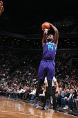 Michael KiddGilchrist of the Charlotte Hornets shoots against the Brooklyn Nets on March 4 2015 at the Barclays Center in the Brooklyn borough of New...