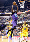 Michael KiddGilchrist of the Charlotte Hornets shoots the ball during the game against the Indiana Pacers at Bankers Life Fieldhouse on February 10...