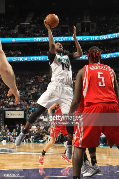Michael KiddGilchrist of the Charlotte Hornets shoots the ball against the Houston Rockets on February 9 2017 at Spectrum Center in Charlotte North...