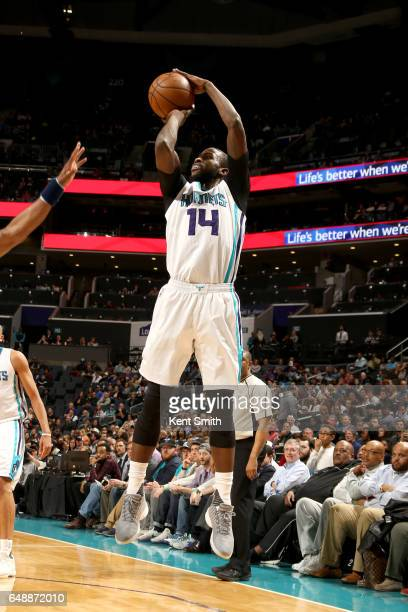 Michael KiddGilchrist of the Charlotte Hornets shoots the ball against the Indiana Pacers on March 6 2017 at Spectrum Center in Charlotte North...