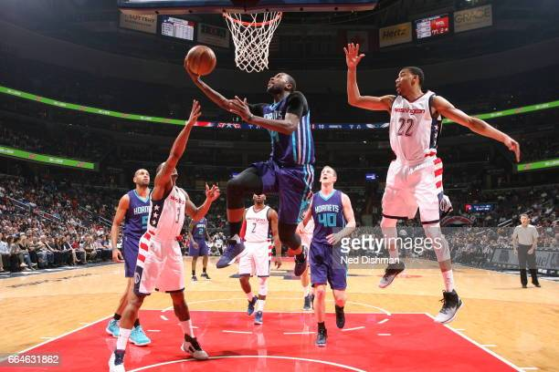 Michael KiddGilchrist of the Charlotte Hornets shoots the ball against the Washington Wizards on April 4 2017 at Verizon Center in Washington DC NOTE...