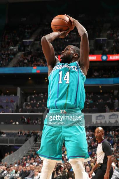 Michael KiddGilchrist of the Charlotte Hornets shoots the ball against the Cleveland Cavaliers on November 15 2017 at Spectrum Center in Charlotte...