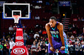 Michael KiddGilchrist of the Charlotte Hornets stands on the court during a game against the Philadelphia 76ers at the Wells Fargo Center on October...