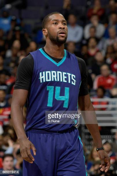 Michael KiddGilchrist of the Charlotte Hornets walks down the court during the game against the Washington Wizards at Verizon Center on April 4 2017...