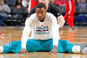 Michael KiddGilchrist of the Charlotte Hornets warms up against the Washington Wizards on March 9 2015 at Time Warner Cable Arena in Charlotte North...