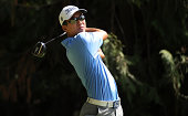 Michael Kim hits his drive on the seventh hole during the first round of the WinCo Foods Portland Open presented by Kraft at Witch Hollow at Pumpkin...