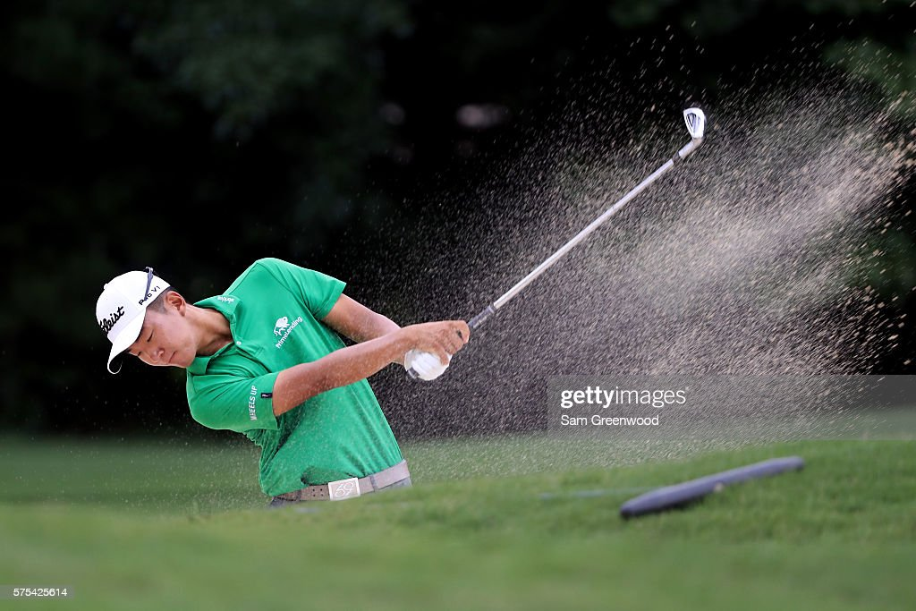 Michael Kim hits off the fifteenth hole during the second round of the Barbasol Championship at the Robert Trent Jones Golf Trail at Grand National on July 15, 2016 in Auburn, Alabama.