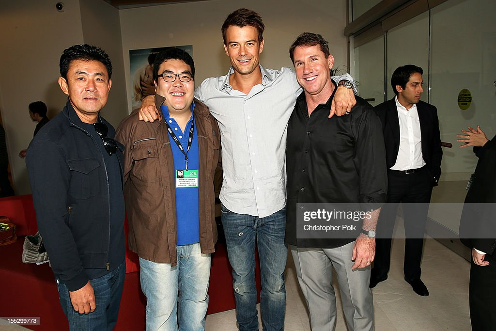 Michael Kim of Mars Entertainment, South Korea, Thomas Kim of Pure Features, South Korea, actor <a gi-track='captionPersonalityLinkClicked' href=/galleries/search?phrase=Josh+Duhamel&family=editorial&specificpeople=208740 ng-click='$event.stopPropagation()'>Josh Duhamel</a> and author Nicholas Sparks attend the 'Safe Haven' AFM Reception at RealD Screening Room on November 2, 2012 in Beverly Hills, California.