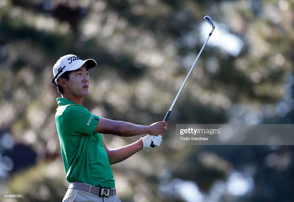 <a gi-track='captionPersonalityLinkClicked' href=/galleries/search?phrase=Michael+Kim+-+Golfer&family=editorial&specificpeople=11015577 ng-click='$event.stopPropagation()'>Michael Kim</a> plays his shot from the third tee during the first round of the Barracuda Championship at the Montreux Golf and Country Club on June 30, 2016 in Reno, Nevada.