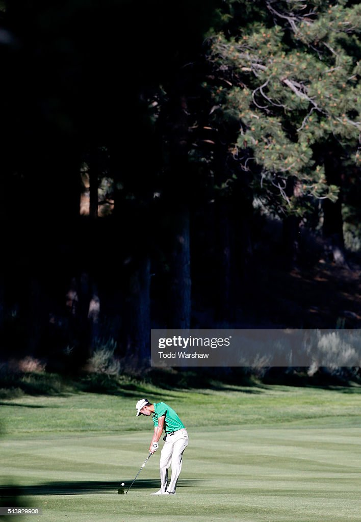 <a gi-track='captionPersonalityLinkClicked' href=/galleries/search?phrase=Michael+Kim+-+Golfer&family=editorial&specificpeople=11015577 ng-click='$event.stopPropagation()'>Michael Kim</a> plays his shot on the fifth hole during the first round of the Barracuda Championship at the Montreux Golf and Country Club on June 30, 2016 in Reno, Nevada.