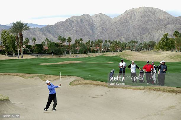 Michael Kim plays his shot out of the bunker on the 11th hole during the second round of the CareerBuilder Challenge in Partnership with The Clinton...