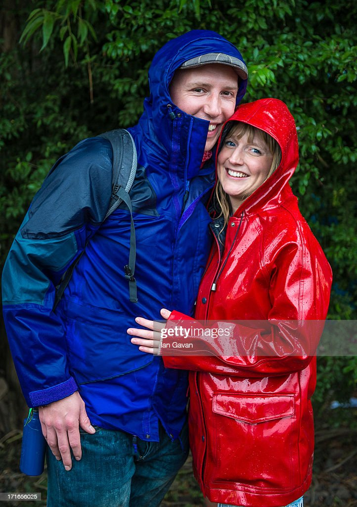 Michael Kinsey and his Fiancee Ceri pose for a photograph after announcing their engagement during day 1 of the 2013 Glastonbury Festival at Worthy Farm on June 27, 2013 in Glastonbury, England.