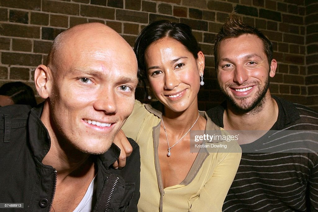 Michael Klim and fiance Lindy Rama pose with Ian Thorpe before the Toni Maticevski Collection show during Mercedes Australian Fashion Week on April 29, 2006 in Sydney, Australia.