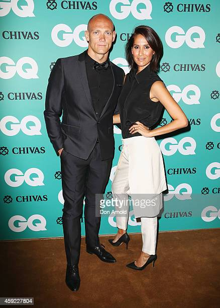 Michael Klim and Lindy Klim arrive for the GQ Men Of The Year Awards 2014 at The Ivy on November 19 2014 in Sydney Australia