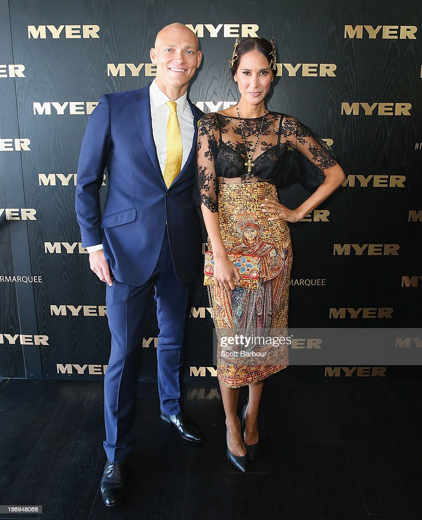 Michael Klim and Lindy Klim attend the Myer marquee during Melbourne Cup Day at Flemington Racecourse on November 5, 2013 in Melbourne, Australia.