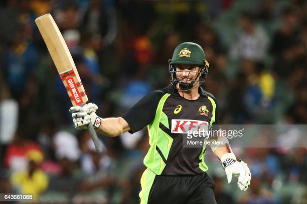 Michael Klinger of Australian celebrates after reaching 50 runs during the International Twenty20 match between Australia and Sri Lanka at Adelaide...
