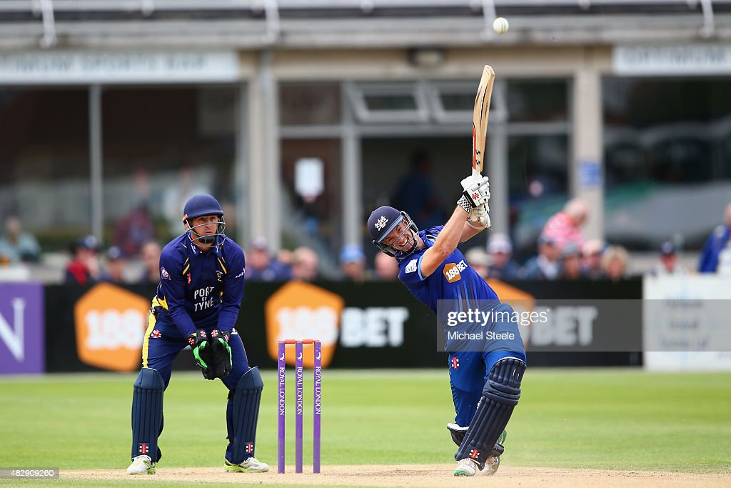 Michael Klinger of Gloucestershire hits a straight six off the bowling of Keaton Jennings as wicketkeeper Phil Mustard of Durham looks on during the...