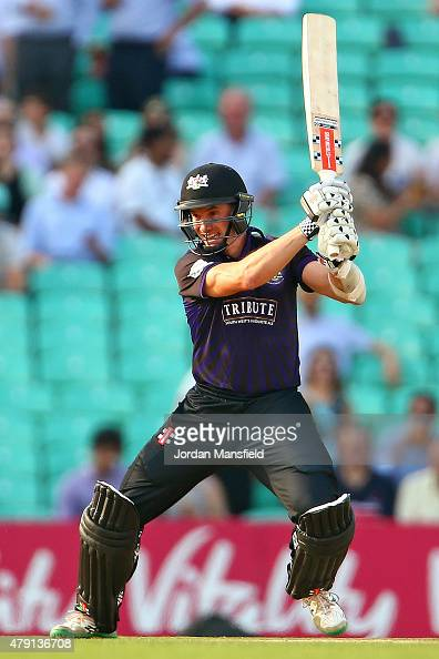 Michael Klinger of Gloucestershire hits out during the Natwest T20 Blast match between Surrey and Gloucestershire at The Oval on July 1 2015 in...