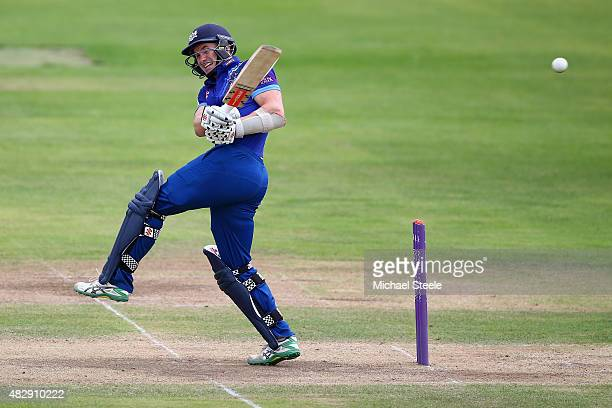 Michael Klinger of Gloucestershire pulls a delivery off the bowling of John Hastings of Durham during the Royal London One Day Cup Group A match...