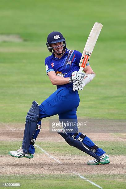Michael Klinger of Gloucestershire pulls a delivery to the legside during the Royal London One Day Cup Group A match between Gloucestershire and...