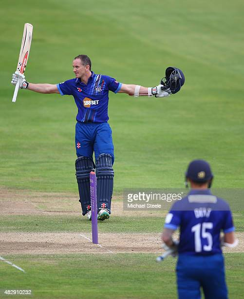 Michael Klinger of Gloucestershire reaches his century during the Royal London One Day Cup Group A match between Gloucestershire and Durham at The...