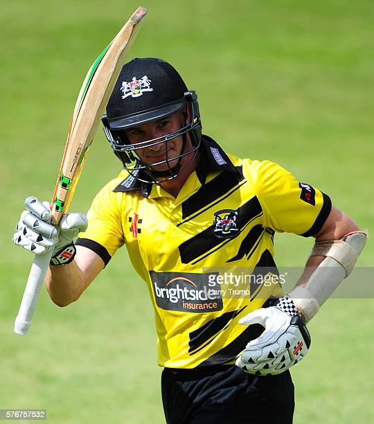Michael Klinger of Gloucestershire salutes the crowd after finishing unbeaten on 95 during the Natwest T20 Blast match between Gloucestershire and...