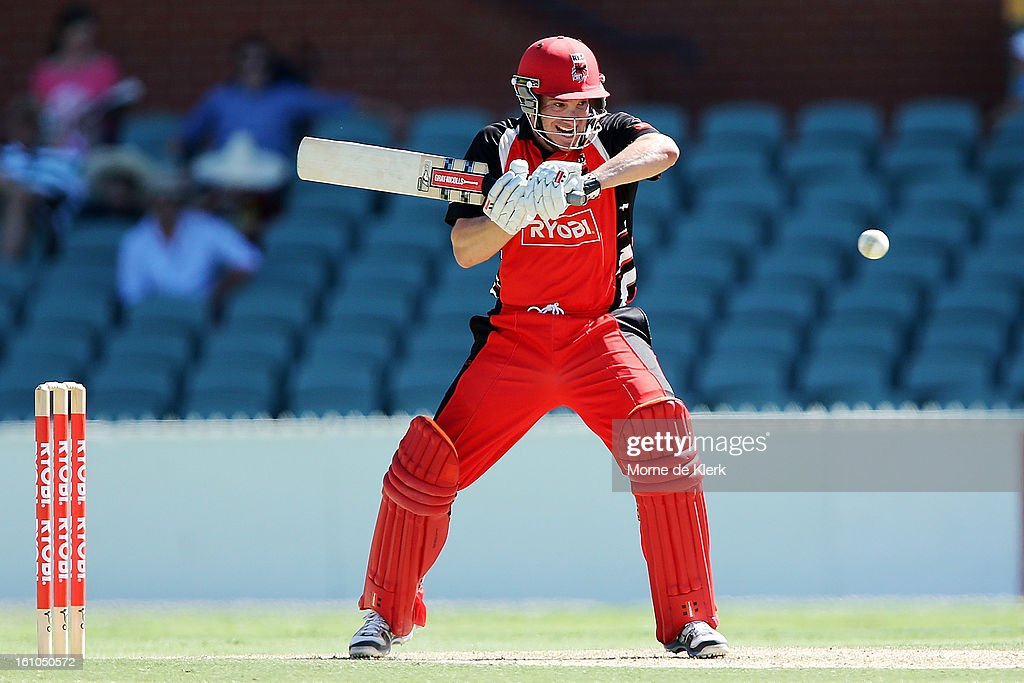Michael Klinger of the Redbacks bats during the Ryobi One Cup Day match between the South Australian Redbacks and the Victorian Bushrangers at Adelaide Oval on February 9, 2013 in Adelaide, Australia.
