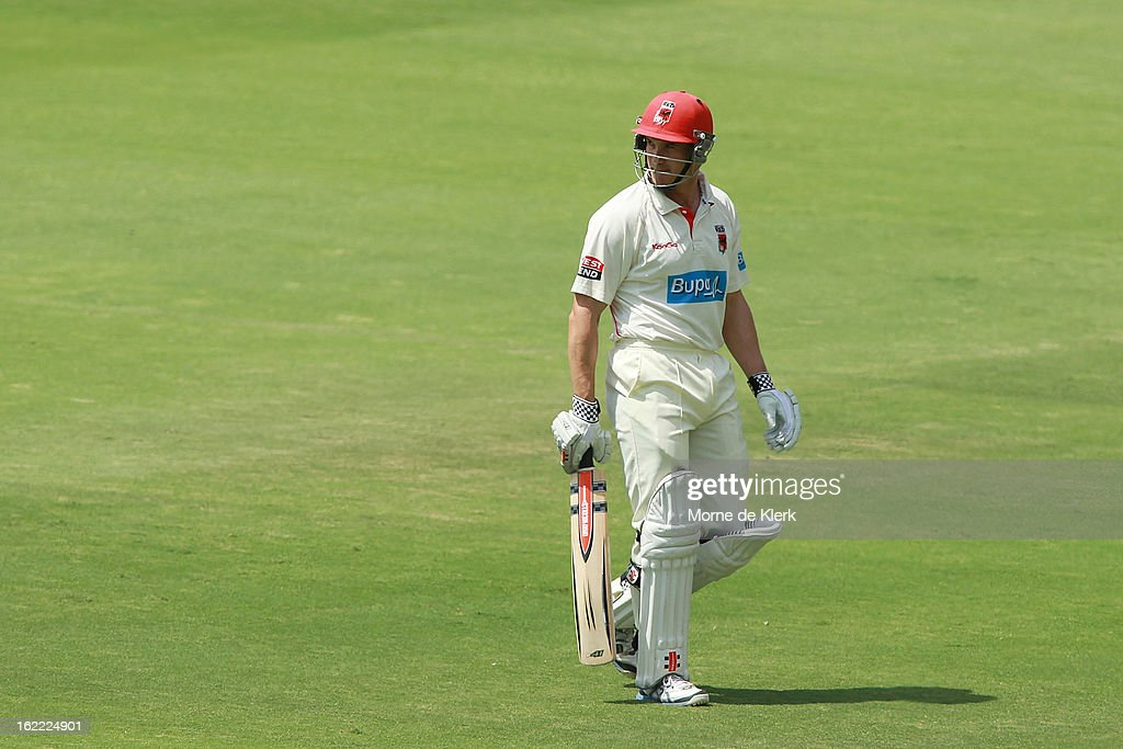 <a gi-track='captionPersonalityLinkClicked' href=/galleries/search?phrase=Michael+Klinger&family=editorial&specificpeople=791573 ng-click='$event.stopPropagation()'>Michael Klinger</a> of the Redbacks leaves the field after getting out during day three of the Sheffield Shield match between the South Australian Redbacks and the New South Wales Blues at Adelaide Oval on February 21, 2013 in Adelaide, Australia.