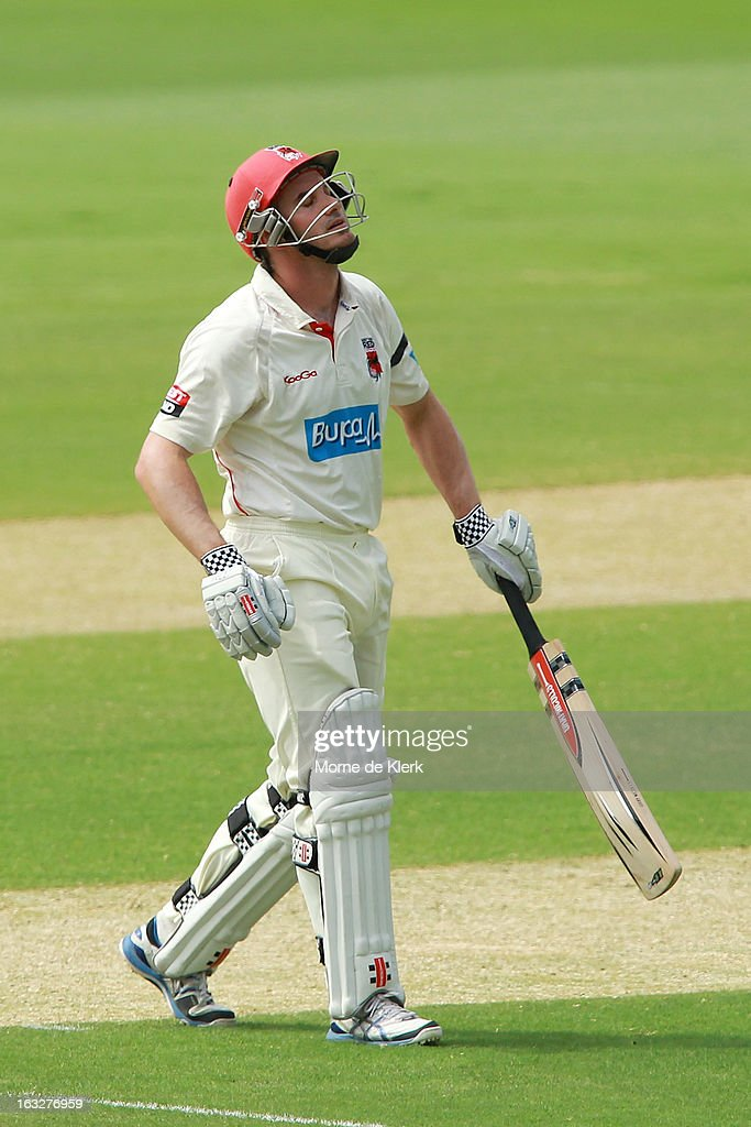 <a gi-track='captionPersonalityLinkClicked' href=/galleries/search?phrase=Michael+Klinger&family=editorial&specificpeople=791573 ng-click='$event.stopPropagation()'>Michael Klinger</a> of the Redbacks reacts after getting out during day one of the Sheffield Shield match between the South Australian redbacks and the Western Australia Warriors at Adelaide Oval on March 7, 2013 in Adelaide, Australia.