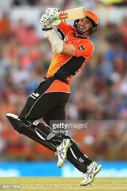 Michael Klinger of the Scorchers bats during the Big Bash League match between the Perth Scorchers and the Brisbane Heat at WACA on December 26 2015...