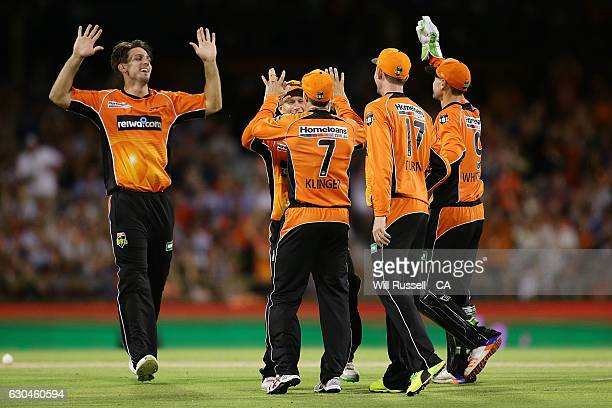 Michael Klinger of the Scorchers ceebrates the wicket of Jake Lehmann of the Strikers during the Big Bash League between the Perth Scorchers and...