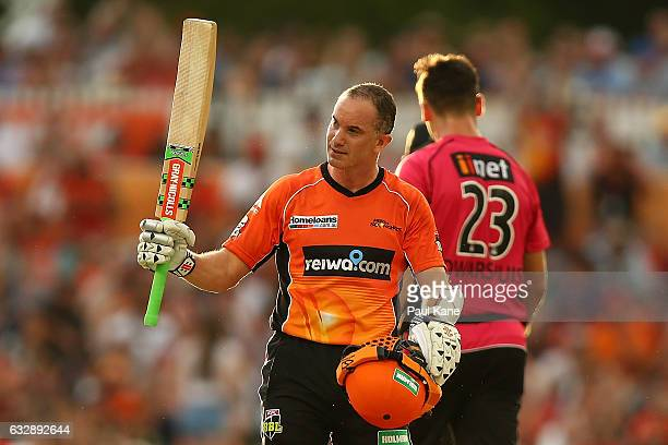 Michael Klinger of the Scorchers celebrates his half century during the Big Bash League match between the Perth Scorchers and the Sydney Sixers at...