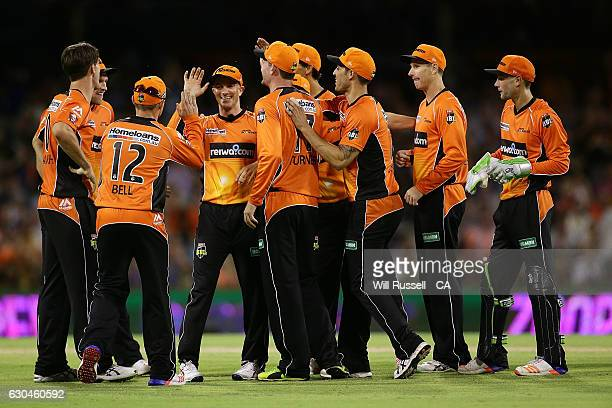 Michael Klinger of the Scorchers celebrates the wicket of Jake Lehmann of the Strikers during the Big Bash League between the Perth Scorchers and...