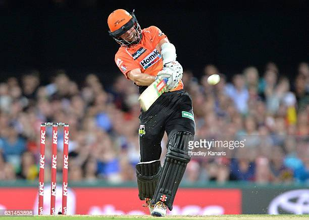 Michael Klinger of the Scorchers hits the ball over the boundary for a six during the Big Bash League match between the Brisbane Heat and the Perth...