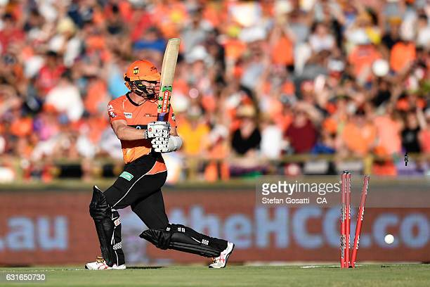 Michael Klinger of the Scorchers is bowled during the Big Bash League match between the Perth Scorchers and the Melbourne Stars at WACA on January 14...