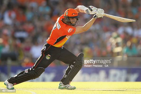 Michael Klinger of the Scorchers plays a shot during the Big Bash League match between the Perth Scorchers and the Brisbane Heat at WACA on January 8...