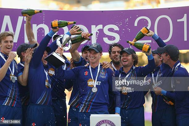 Michael Klinger the captain of Gloucester celebrates with the trophy during the Royal London One Day Cup Final between Gloucestershire and Surrey at...