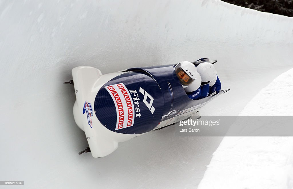 Michael Klingler, Bruno Meyerhans, Juergen Berginz and Thomas Duerr compete during the Four Men Bobsleigh heat one of the IBSF Bob & Skeleton World Championship at Olympia Bob Run on February 2, 2013 in St Moritz, Switzerland.